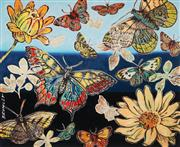 Sale 8959A - Lot 5051 - David Bromley (1960 - ) - Butterflies and Flowers 28.5 x 35 cm (frame: 57 x 63 x 2 cm)