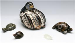 Sale 9153 - Lot 40 - A Cloisonne style quail (H:14cm) together with other stone turtles (5)