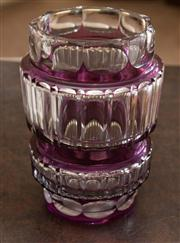 Sale 8313A - Lot 12 - A contemporary amethyst cased and cut glass vase, height 21cm