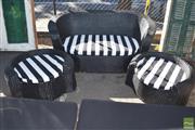 Sale 8390 - Lot 1349 - 3-Pce Black-Painted Outdoor Suite