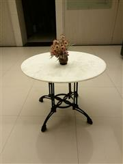 Sale 8402B - Lot 32 - French Style Cafe Table with White Marble Top on Cast Iron Base, 100cm diameter