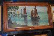 Sale 8419T - Lot 2053 - H. Ethevenaux - Watching the Fisherman, oil on canvas, 49 x 99cm, signed lower left