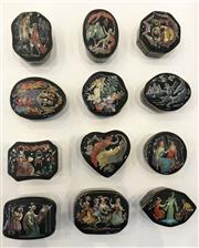 Sale 8436A - Lot 60 - Masterpieces of the Russian Ballet - a set of twelve porcelain trinket boxes by Franklin Mint with certificates.