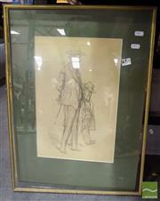 Sale 8468 - Lot 2032 - Artist Unknown - Two Men 38.5 x 25cm