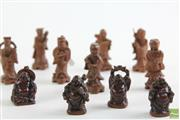 Sale 8494 - Lot 35 - Carved Figures of Buddha and Gentlemen