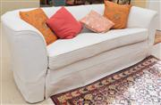 Sale 8550H - Lot 53 - A two seater cream lounge with woven cross hatch design  together with cushions, W 190 x D 96 x H 70cm