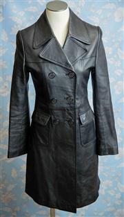 Sale 8577 - Lot 94 - A vintage style long soft black leather coat by Charcoal, size S (8 to small 10), length 90cm, Condition: Excellent