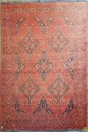 Sale 8598 - Lot 1004 - Afghan Mahar Mohammadi Wool Carpet, in deep red & black tones (faded) (W: 290 x 200cm)