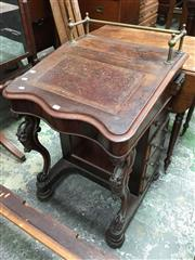 Sale 8666 - Lot 1034 - Victorian Carved & Veneered Rosewood Davenport, with brass gallery, tooled leather writing slope on carved supports, with a small st...