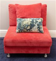 Sale 8741A - Lot 83 - A King Furniture red corduroy single comfy chair with matching cushion and a tapestry cushion , base measures 80cm2