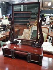 Sale 8814 - Lot 1011 - William IV Carved Mahogany Toilet Mirror, on serpent supports, with three drawers with carved fascia