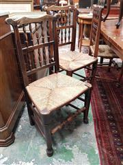 Sale 8868 - Lot 1111 - Set of Six 19th Century Lancashire Oak Dining Chairs, with two rows of spindles & rush seats