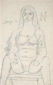 Sale 8881 - Lot 552 - Francis Souza (1924 - 2002) - Seated Nude, 1994 52 x 33 cm