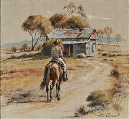 Sale 9133 - Lot 583 - John Cornwell (1930 - ) Riding up to the Shack oil on hessian 31 x 33.5 cm (frame: 51 x 54 x 4 cm) signed lower right