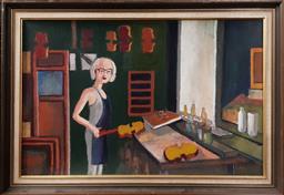 Sale 9155 - Lot 2038 - Leslie John Warner Master Violin Maker oil on board, 61 x 86cm, unsigned -