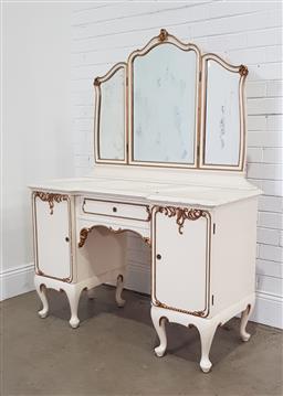 Sale 9191 - Lot 1061 - Painted mirrorback dresser (h160 x w117 x 50cm)