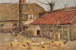 Sale 9212A - Lot 5003 - ARTIST UNKNOWN - Farmyard & Chicken Coop 29.5 x 43.5 cm (frame: 36 x 51 x 2 cm)