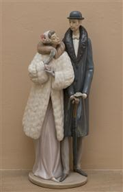 Sale 8313A - Lot 13 - A Lladro figurine of a handsome couple Off to the Theatre, H45MY, height 38cm