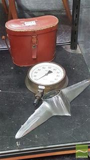 Sale 8364 - Lot 1021A - Vintage Pressure Gauge, Binoculars in Case & Car Ornament (3)