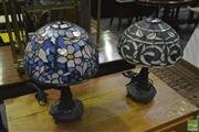 Sale 8398 - Lot 1055 - Set of 2 Leadlight Table Lamps