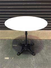 Sale 8402B - Lot 33 - French Style Cafe Table with White Marble Top on Cast Iron Base, 80cm diameter