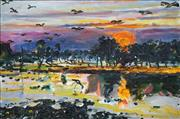 Sale 8693A - Lot 5024 - Gil Jamieson (1934 - 1992) - Yellow Water Mornings with Jabiru, 1982 59.5 x 90.5cm
