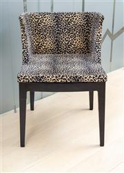 Sale 8703A - Lot 50 - A pair of Mademoiselle cheetah print dining chairs, H x 74cm x 52 W D x 48cm