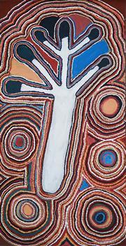 Sale 8808 - Lot 550 - Susie Bootja Bootja Napaltjarri (c1935 - 2003) - Water Dreaming, 1991 120 x 60cm