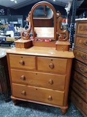 Sale 8814 - Lot 1017 - Late Victorian Huon Pine Dressing Chest, with carved supports, two trinket & four large drawers, on turned feet