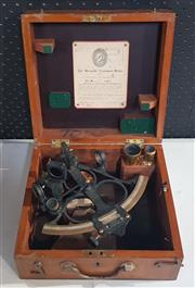 Sale 8976N - Lot 301 - Hezzanith Cased Sextant by Heath & New Eltham with Endless Tangent Screw Automatic Clamp and Calibration Certificate, 1945 (h:270 x...