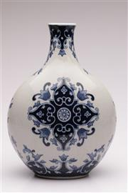 Sale 9049 - Lot 39 - Blue and white crackled vase with floral decoration (H33cm)