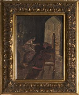 Sale 9155 - Lot 2005 - RUBY WINCKLER (1886 - 1974) The Abbott Smells the Rose, 1908 oil on canvas on board 37.5 x 27.5 cm (frame: 58 x 48 x 4 cm) signed an...