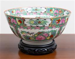 Sale 9140H - Lot 16 - A Japanese porcelain ware floral themed centre bowl on timber stand, Diameter 30cm