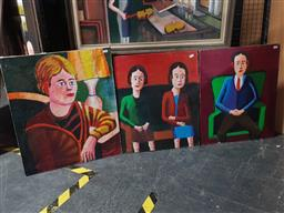 Sale 9155 - Lot 2039 - Leslie John Warner (3 works) Portraits oils on canvas, 41 x 56cm (2) 61 x 52cm, each unsigned -