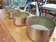Sale 8428 - Lot 1050 - Set of Five Graduating Copper Saucepans (Biggest Pot = H 10.5 x D 20cm - Smallest = H 6 x D 12cm)