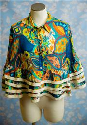 Sale 8577 - Lot 96 - A Karen Walker multi coloured layered 100% cotton poncho style top, size: UK 10, Condition: Very Good