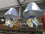 Sale 8585 - Lot 1722 - Pair of Belgium Polychrome Hand Painted Table Lamps (3383)
