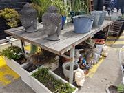 Sale 8601 - Lot 1240 - Large Industrial Outdoor Table (H: 93 L: 256 W: 153cm)