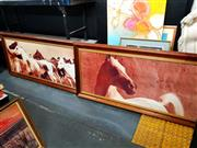 Sale 8678 - Lot 2096 - Two Sepia Toned Photographic Prints of Horses, in pine frames, each frame 85cm x 173cm
