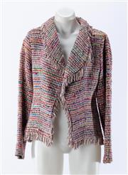 Sale 8910F - Lot 71 - A multi-coloured slik blend basket weave jacket with fringing, size 12
