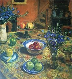 Sale 9091A - Lot 5003 - Margaret Olley (1923 - 2011) - Yellow Table Cloth and Cornflowers, 2007 94 x 79 cm (sheet)