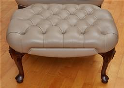 Sale 9098H - Lot 45 - A Moran viva Pebble button top foot stool with cabriole legs, ex David Jones 2007 Height 36 x Width 66 x Depth 50