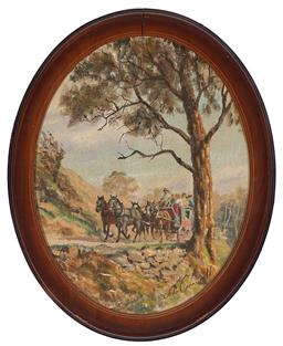 Sale 9133 - Lot 584 - John Cornwell (1930 - ) Coming Home on the Coach oil on hessian (damage to frame) 34 x 26.5 cm (frame: 41 x 33 x 2 cm) signed lower ...