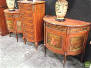 Sale 8412 - Lot 1006 - Pair of French Style Demilune Hall Tables with Single Drawer & Door