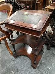 Sale 8666 - Lot 1007 - Victorian Walnut Combination Davenport / Whatnot, with concealed stationery compartment & writing slope top (distressed) with amboyn...