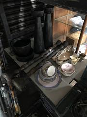 Sale 8789 - Lot 2292 - 2 Pair Candle Holders, 2 Bowls, Plated Sandwich Trays & Ceramics