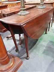 Sale 8814 - Lot 1039 - George III Mahogany Drop-Leaf Table, forming an oval top, on club legs