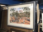 Sale 8824 - Lot 2048 - Artist Unknown - Mining Site, watercolour, frame size 61 x 78cm, signed lower left