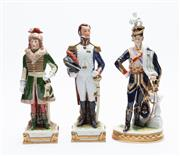 Sale 8873A - Lot 15 - Three German porcelain figures of Napoleons Generals, including Murat, Junot and Lepic