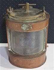 Sale 8976N - Lot 323 - Early Copper Harvie & Co. Ships Masthead Lantern with Brass Top, Electrified Bayonet and Clear Glass Front (h:325 x w:340 x d:214mm)